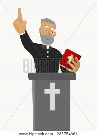 A Christian Chatolic Priest Gave A Sermon In A Church In Worship. Vector Illustration On White Backg