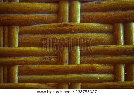Autumn Maple Painted Wooden Wicker Texture Of Basketwork For Background Use.