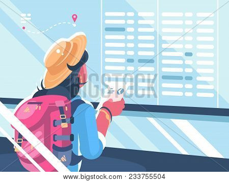 Girl Traveler Watch Schedule Of Flights. Holidays And Vacations. Vector Illustration