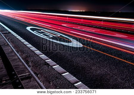 Long Exposure Light Trail Picture On A Motorway