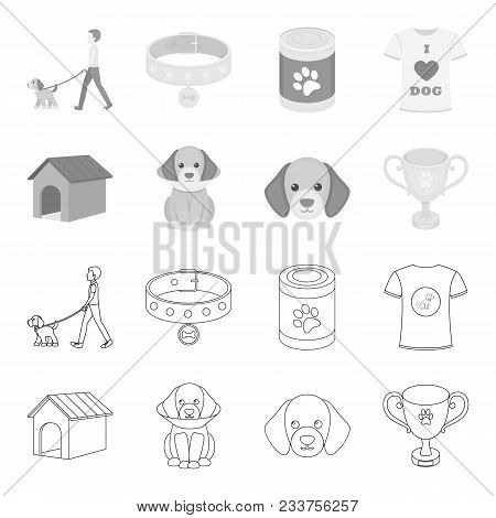 Dog House, Protective Collar, Dog Muzzle, Cup. Dog Set Collection Icons In Outline, Monochrome Style