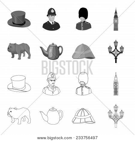 Breed Dog, Teapot, Brewer .england Country Set Collection Icons In Outline, Monochrome Style Vector