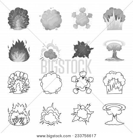 Flame, Sparks, Hydrogen Fragments, Atomic Or Gas Explosion. Explosions Set Collection Icons In Outli