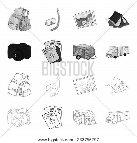 Vacation, Photo, Camera, Passport .family Holiday Set Collection Icons In Outline, Monochrome Style
