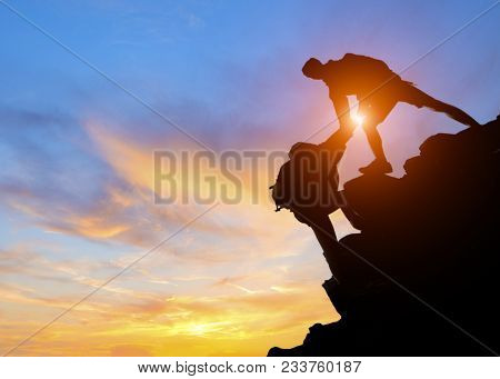 Asia Couple Hiking Help Each Other Silhouette In Mountains With Sunlight, Couple Hiking Help Each Ot