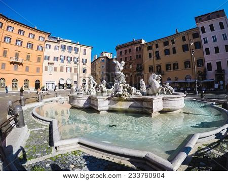 The Fountain Of Neptune At Piazza Navona Square.