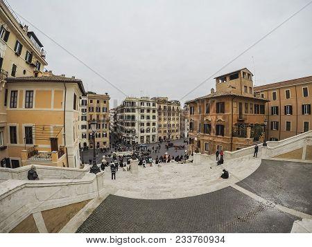 People On The Scalinata Di Trinità Dei Monti At Piazza Di Spagna.