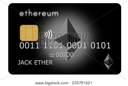 Black Ethereum Credit Or Debit Card Supporting Wireless Payments With The Popular Cryptocurrency