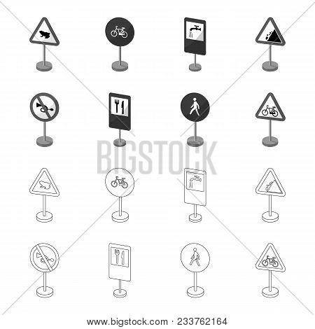 Different Types Of Road Signs Outline, Monochrome Icons In Set Collection For Design. Warning And Pr
