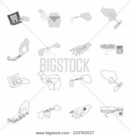 Anesthetic Injection, Dental Instrument, Hand Manipulation, Tooth Cleaning And Other  Icon In Outlin
