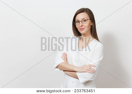 Smiling Happy Confident Attractive Young Doctor Woman With Glasses Isolated On White Background. Fem