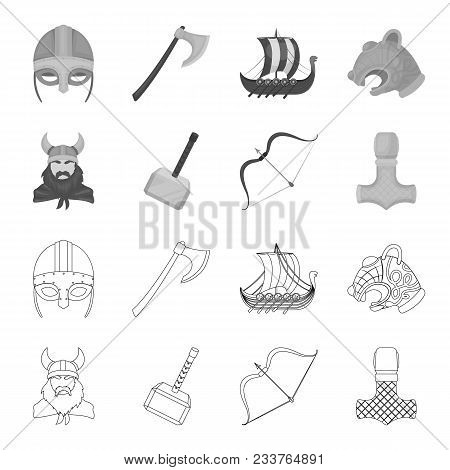 Viking In Helmet With Horns, Mace, Bow With Arrow, Treasure. Vikings Set Collection Icons In Outline