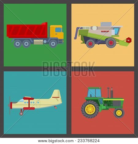 Agriculture Harvest Machine Vector Industrial Banner Farm Equipment Tractors Transport Combine And M