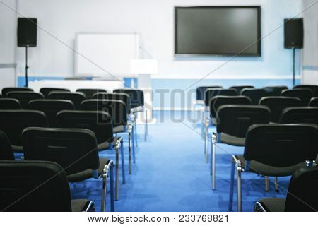 Empty Presentation Conference Room Hall Classroom Lecture Hall Lecture Room Ready For Meeting. Train