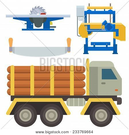 Sawmill Woodcutter Tools Logging Equipment Lumber Machine Industrial Wood Timber Forest Vector Illus