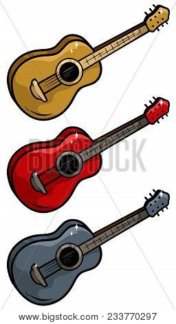 Cartoon Colored Wooden Acoustic Guitar Isolated On White Background. Vector Icons Set.
