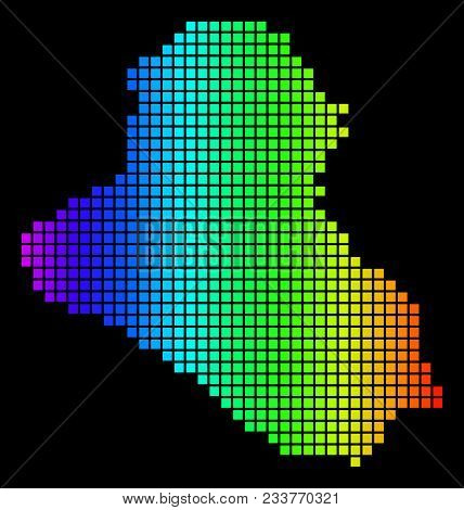 Spectrum Dotted Iraq Map. Vector Geographic Map In Bright Colors On A Black Background. Colored Vect