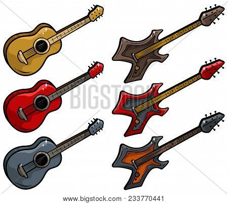 Cartoon Colored Electric And Acoustic Guitar Isolated On White Background. Vector Icons Set.