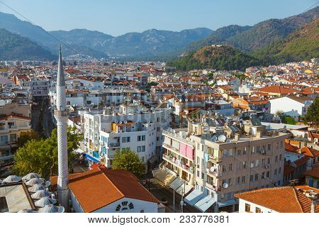View To The Buildings Of The Marmaris Resort Town In Marmaris, Turkey. Mosque