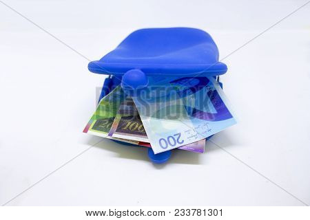 Small Blue Purse With Fake Israel Shekels