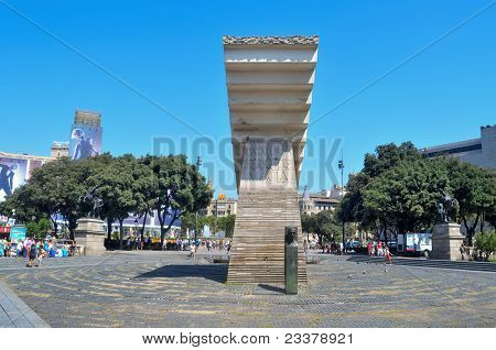 BARCELONA, SPAIN - AUGUST 16: Macia Monument in Plaza Cataluna on August 16, 2011 in Barcelona, Spain. This monument  designed by Subirachs  in honor of president dominates the square, the city centre