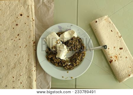 Madimak Meal And Bread With Their Meals In Anatolia, Turkish Food And Bread Beside Madimak