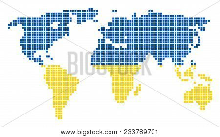 Dotted pixel world vector photo free trial bigstock a dotted pixel world map vector geographic map in ukraine flag colors on a white background ukrainian blue and yellow colored vector abstract pattern of gumiabroncs Images