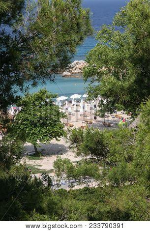 Halkidiki Peninsula, A Cozy Sandy Beach. Greece