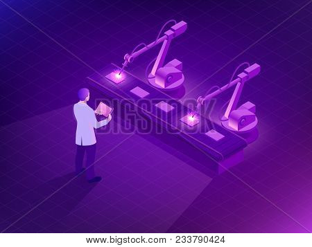 Isometric Industrial Robot Working In Factory. Man Holding A Tablet With Augmented Reality Screen So