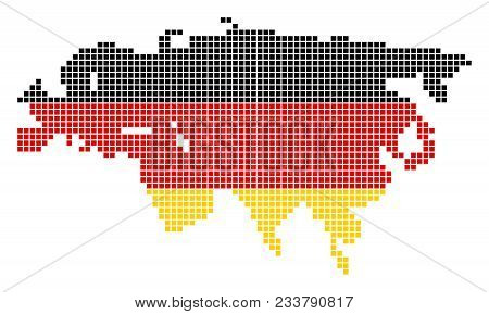 A Dotted Pixel Europe And Asia Map. Vector Geographic Map In Germany Flag Colors On A White Backgrou