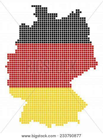 A Dotted Pixel Germany Map. Vector Geographic Map In Germany Flag Colors On A White Background. Colo