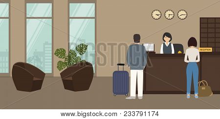 Hotel Reception. Receptionist Stands At Reception Desk. There Are Two Brown Armchairs On A Window Ba