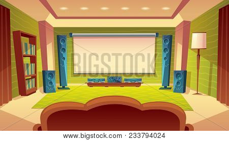Vector Cartoon Home Theater With Projector, Audio Video System Inside The Hall. White Screen On The