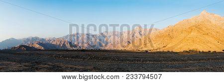 Jabal Jais Mountain Range Complete Panorama, North Of United Arab Emirates