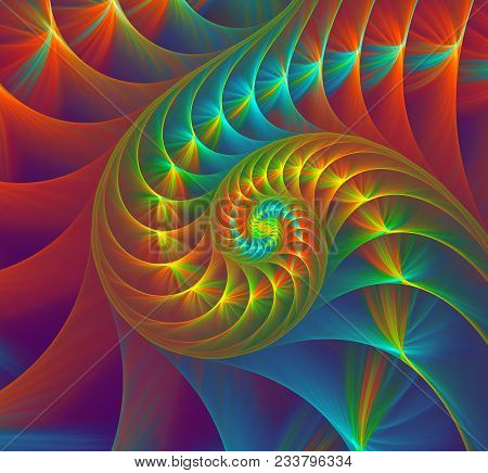 Abstract Fractal Colorful Nautilus Shell Spiral An Fibonacci Sequence In A Sea Shell. Golden Spiral