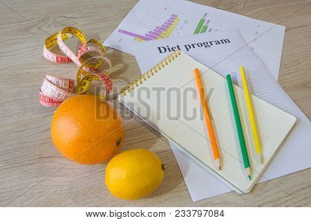 Healthy Natural Organic Food Diet, Ripe Harvest. Fruit Composition, Measuring Tape, Calculator With