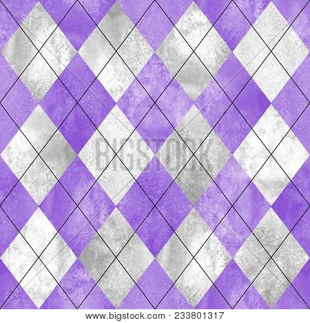 Argyle Seamless Plaid Pattern. Watercolor Hand Drawn Purple Lilac Gray Texture Background. Watercolo
