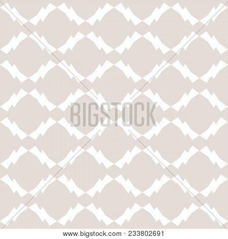 Subtle Vector Ornamental Pattern In Asian Style. Abstract Geometric Seamless Texture With Diamond Sh
