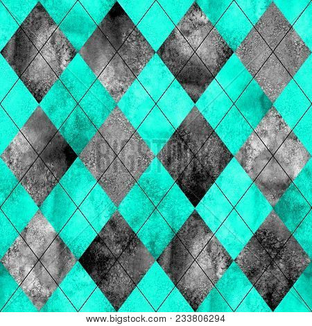 Argyle Seamless Plaid Pattern. Watercolor Hand Drawn Black Gray Teal Texture Background. Watercolour