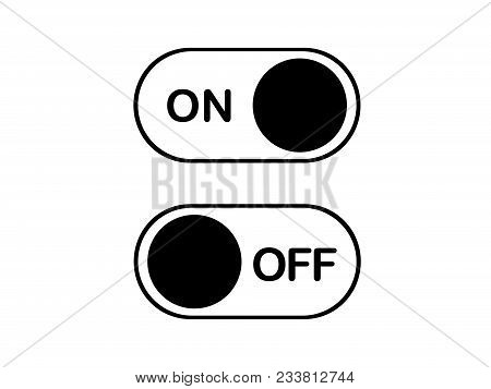 Vector Simple Flat Icon On And Off Toggle Switch Button