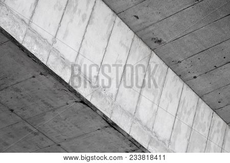 Abstract Industrial Architecture Background. Concrete Wall With Dark Niche