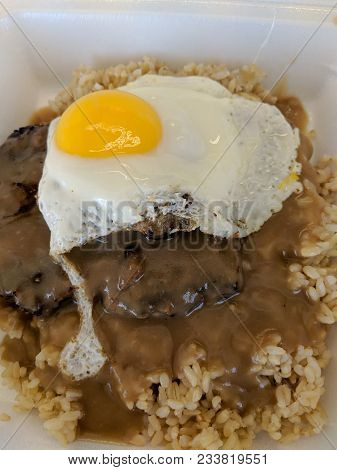 Loco Moco Close-up.  Loco Moco Is A Dish Native To Hawaiian Cuisine. There Are Many Variations, This