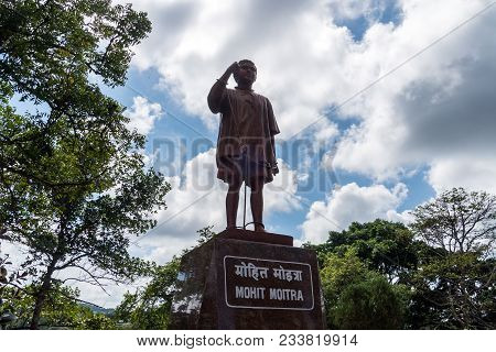 Port Blair, Andaman Islands. India. January 12, 2018: Statue Of The Indian Political Prisoner, Near