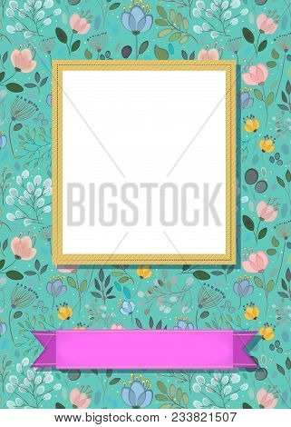 Floral Greeting Card. Graceful Watercolor Flowers And Plants. Yellow Frame For Custom Photo. Purple