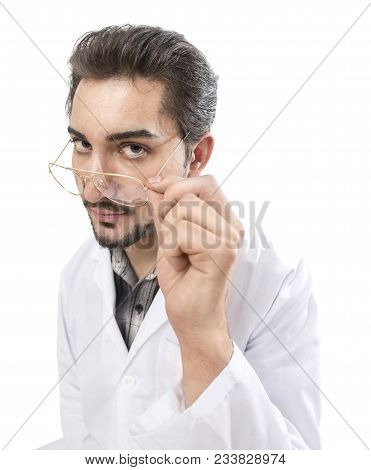 A Confident Person In A Lab Coat Looking Through His Glasses With Acknowledgment And Expertise.
