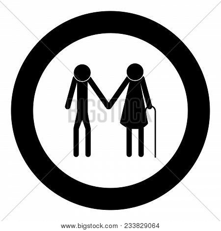 Elder People Stick Black Icon In Circle Vector Illustration Isolated Flat Style .