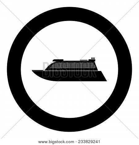 Transatlantic Cruise Liner Black Icon In Circle Vector Illustration Isolated Flat Style .