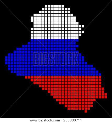 A Dotted Pixel Iraq Map. Vector Geographic Map In Russia Flag Colors On A Black Background. Russian