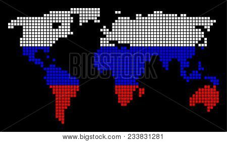 Dotted pixel world vector photo free trial bigstock a dotted pixel world map vector geographic map in russia flag colors on a black gumiabroncs Image collections