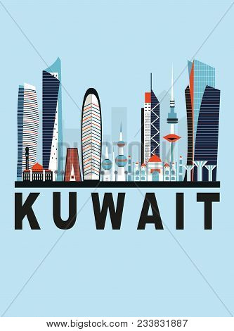 Travel Background With Kuwait City In Bright Colors